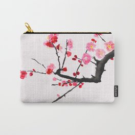 red plum flower red background Carry-All Pouch
