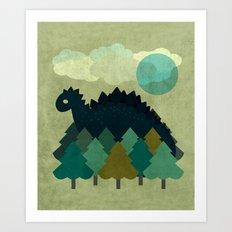 BLUE DINO Art Print
