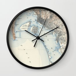 Vintage Map of San Diego California (1902) Wall Clock