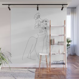 Minimal Line Art Woman with Flowers Wall Mural
