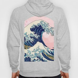 The Great Wave off Kanagawa by Hokusai in pink Hoody
