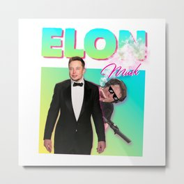 Elon Musk 80s Meme Metal Print