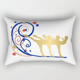 Gold Silhouette Synchro Team Graphic Design Rectangular Pillow