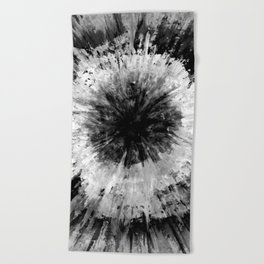 Black and White Tie Dye // Painted // Multi Media Beach Towel