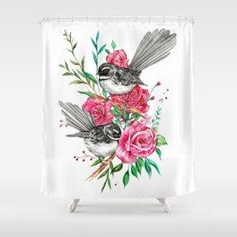 Floral Piwakawakas Shower Curtain
