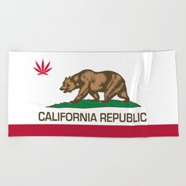 California Republic state flag with red Cannabis leaf Beach Towel