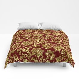 Red & Gold Floral Damasks Pattern Comforters