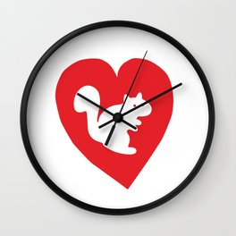 White Squirrel red heart Wall Clock