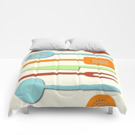Kitchen Utensil Colored Silhouettes on Cream II Comforters