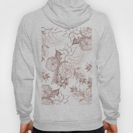 Modern Girly Rose Gold Floral Illustrations Hoody