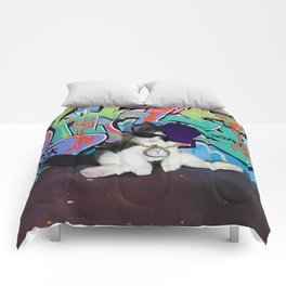Cat Attitude.....Kitten and Graffiti Wall Comforters