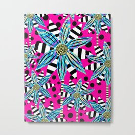 Pinwheel Flowers on Hot Pink Metal Print