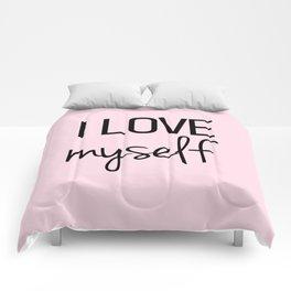 I love myself Pink Comforters
