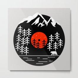 Vinyl Nature SE - Geometric bear, animal print, forest shirt, woods, mountains, vinyl mash up, retro Metal Print