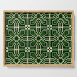 Art Deco Floral Tiles in Emerald Green and Faux Gold Serving Tray