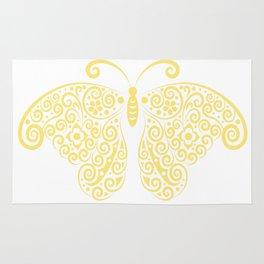 Cool Golden Butterfly Floral Pattern Artwork Rug