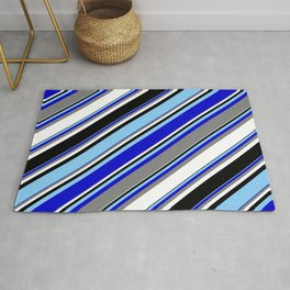 Light Sky Blue, Blue, Gray, White, and Black Colored Striped Pattern Rug