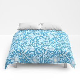 """William Morris Floral Pattern   """"Pink and Rose"""" in Turquoise Blue and White Comforters"""