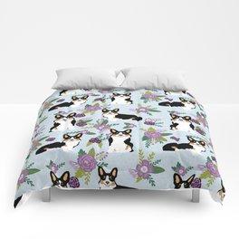 Tricolored Corgi Floral print - feminine blue purpl florals dogs, dog lover, dog mom, tri corgi cute Comforters