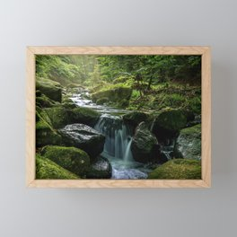 Flowing Creek, Green Mossy Rocks, Forest Nature Photography Framed Mini Art Print