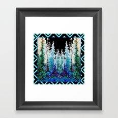 Western Turquoise Modern Art Mountain Trees Blue  Art Framed Art Print