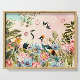 Landscapes of birds in paradise 2 Serving Tray
