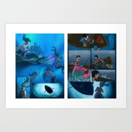 Mermaid meets Sandwich Art Print
