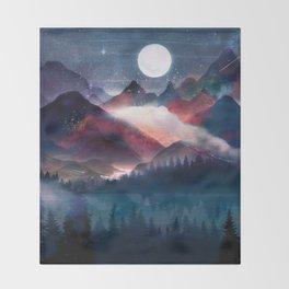 Mountain Lake Under the Stars Throw Blanket