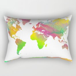 World Map - Watercolor 9 Rectangular Pillow