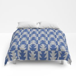 Art Deco Jagged Edge Pattern Blue and Gray Comforters