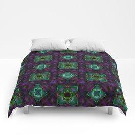 Purple Pattern Fractal Art Comforters