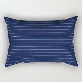 Navy Blue Pinstripe Lines Rectangular Pillow