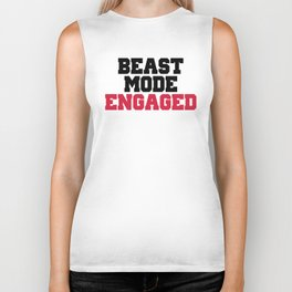 Beast Mode Engaged Gym Quote Biker Tank