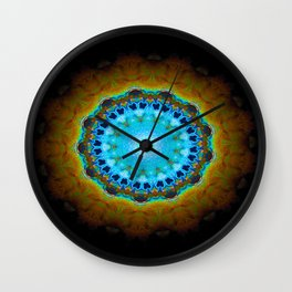 Lovely Healing Mandalas in Brilliant Colors: Black, Brown, Navy, Copper, and Light Blue Wall Clock