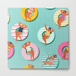 Summer gils on inflatable in swimming pool floats. Metal Print