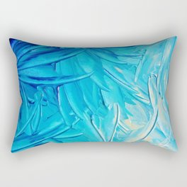 WATER FLOWERS - Beautiful Water Ocean Theme Shades Blue Floral Modern Design Abstract Painting Rectangular Pillow