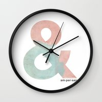 ampersand Wall Clocks featuring Ampersand by Samantha Lynch