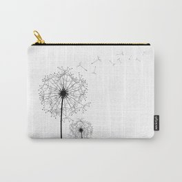 Black And White Dandelion Sketch Carry-All Pouch