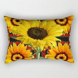 SOUTHWESTERN  BLACK COLOR YELLOW SUNFLOWERS ART Rectangular Pillow