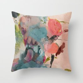pink summer roses 3 triptych abstract Throw Pillow