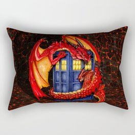 Red Dragon with blue phone booth Rectangular Pillow