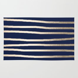 Drawn Stripes White Gold Sands on Nautical Navy Blue Rug