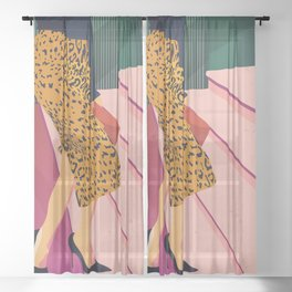Just steppin' in, and you`re gonna hear me Roar - Fashion illustration Sheer Curtain