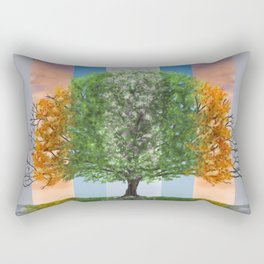 Digital painting of the seasons of the year in a tree Rectangular Pillow