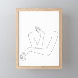 Minimal line drawing of woman's folded arms - Anna Framed Mini Art Print
