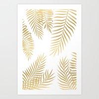 Art Prints featuring Gold palm leaves by Marta Olga Klara