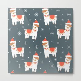 cute cartoon llama with santa hat christmas seamless pattern background with snowflakes Metal Print