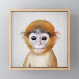 Baby Monkey - Colorful Framed Mini Art Print