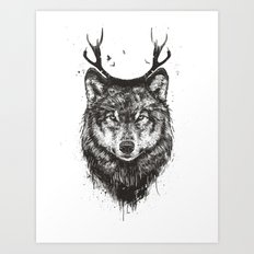 Deer wolf (b&w) Art Print