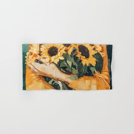 Holding Sunflowers #society6 #illustration #nature #painting Hand & Bath Towel